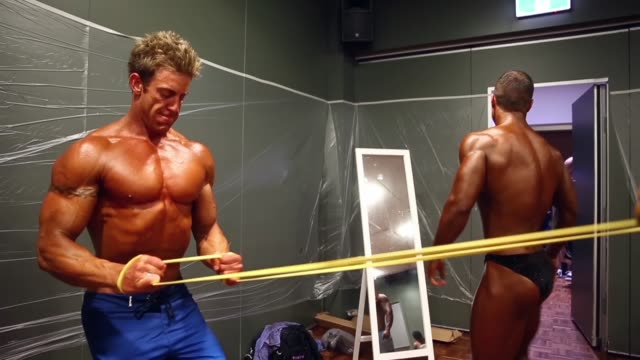 victorian state championship bodybuilding competition shot on october 05 2014 in melbourne australia - spray tanning stock videos & royalty-free footage