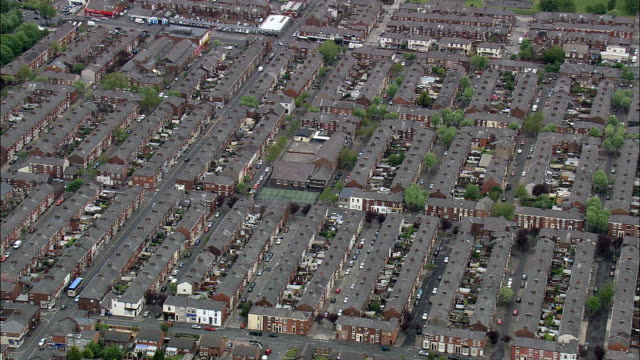victorian terraced housing in preston  - aerial view - england, lancashire, preston district, united kingdom - 19th century style stock videos & royalty-free footage