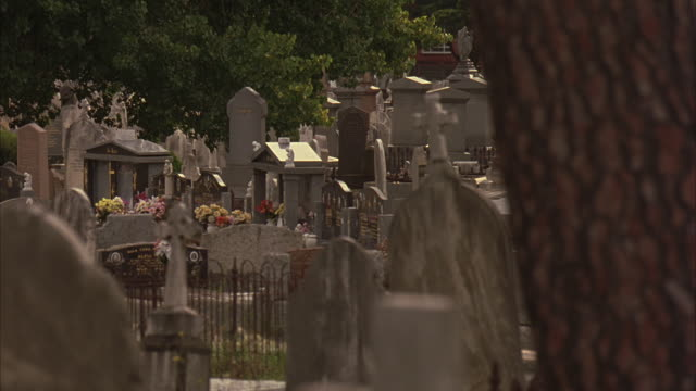 Victorian-style headstones fill Melbourne Central Cemetery.