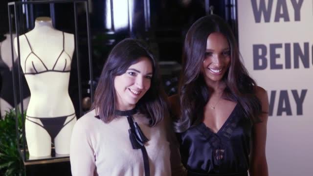 vídeos de stock, filmes e b-roll de victoria's secret angel jasmine tookes and designer lisa chavy celebrate the introduction of the livy lingerie brand at the brand's new bond street... - victoria's secret angel