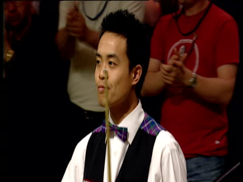 victorious peter ebdon applauds marco fu and follows him out of arena after their tense match world snooker championship semi final crucible theatre... - world championship stock videos & royalty-free footage