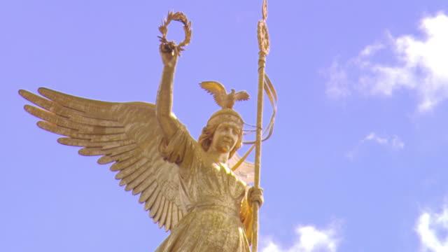 MS LA Victory Column commemorating Prussian victory in Danish-Prussian War against sky / Berlin, Germany