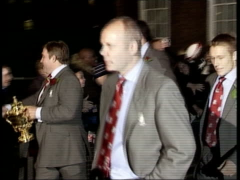 victory party at buckingham palace and reception at downing street news at ten james mates london downing street jason leonard holding webbellis... - organised group stock videos & royalty-free footage