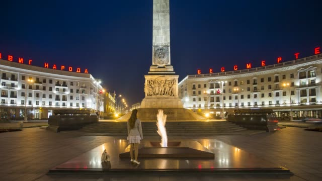 victory square and granite monument to victory, independence avenue, minsk, belarus - time lapse - belarus stock videos & royalty-free footage