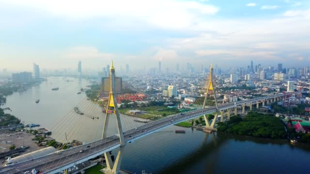 video 4k : aerial view of bhumibol bridge in bangkok city - steel cable stock videos & royalty-free footage