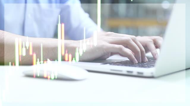 WS video 4k: dubbel exponering av finansiella grafen visar statistik för företag.