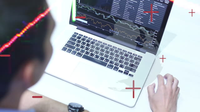 WS video 4k: Double exposure of the Financial graph showing statistics for business.