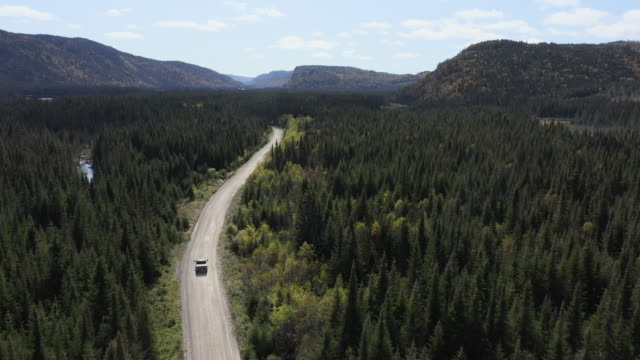 video, aerial view of a vehicle on road leading through beautiful colorful autumn forest in sunny fall, quebec, canada - the way forward stock videos & royalty-free footage