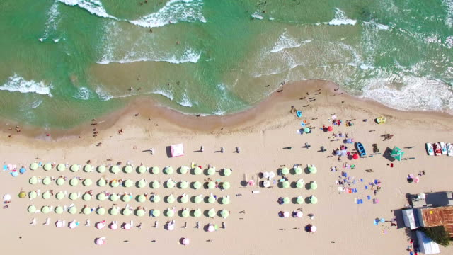 4k video aerial view of beach - parasol stock videos & royalty-free footage