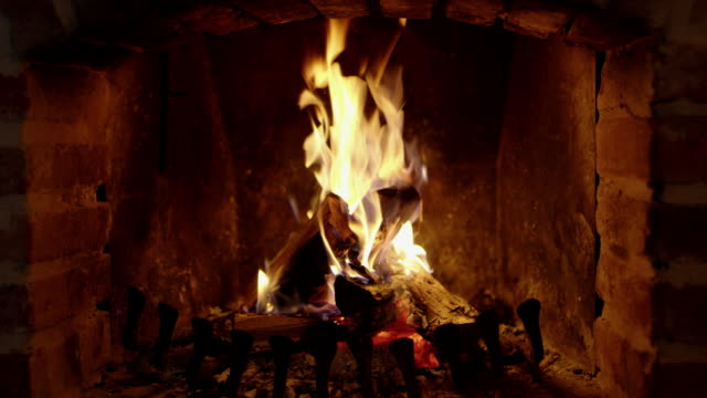 WS Video and audio of wood burning in the fireplace