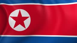 Video Animation of North Korea flag, slow Motion closeup waving in the wind.