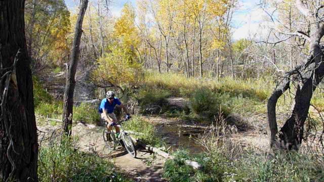 hd video autumn mountain biking along bear creek colorado - state park stock videos & royalty-free footage