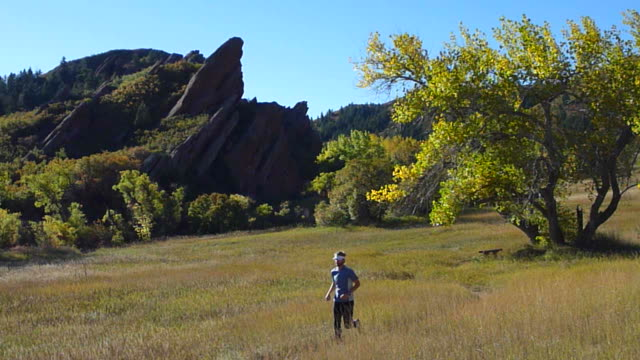 hd-video herbst trail running in colorado state park - turmspitze stock-videos und b-roll-filmmaterial