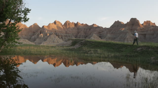 hd video badlands national park reflections south dakota - south dakota stock videos and b-roll footage