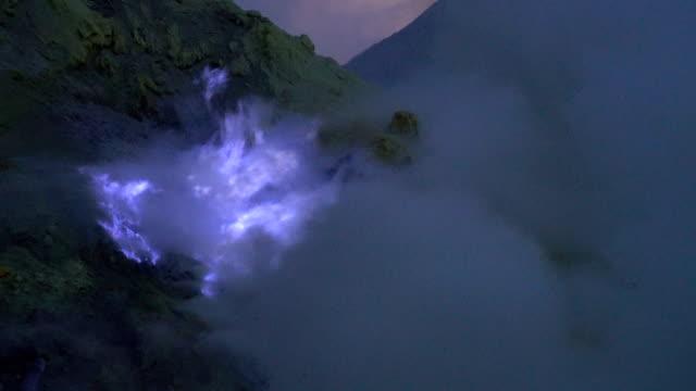 4K Video : blue sulfur flames at volcano, Kawah Ijen volcano, East Java, Indonesia.