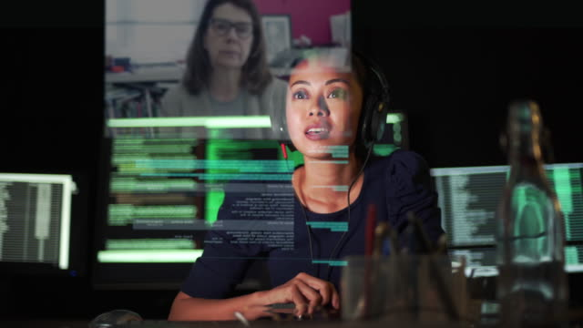 video call dark tech office - computer monitor stock videos & royalty-free footage