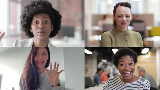 video call with four black female colleagues from home, female friends using video conferencing technology for virtual meeting - headshot stock videos & royalty-free footage