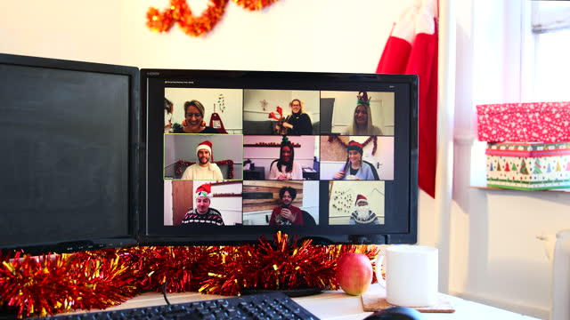 video calling with my colleagues - tinsel stock videos & royalty-free footage