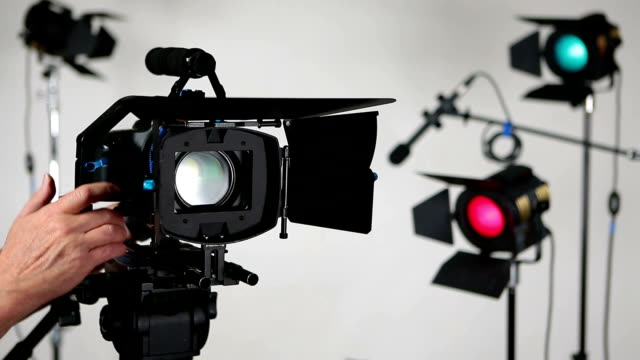 Video camera DSLR moving on slider