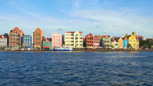 4k video cityscape of willemstad, netherlands antilles, curacao - pontoon bridge stock videos and b-roll footage