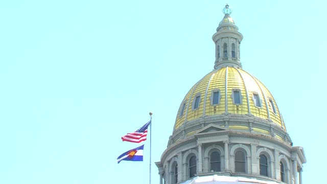 Video clips of the dome flags and surrounding environment at the Colorado State Capitol Building in Denver in summer Colorado State Capital Building...