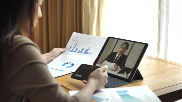 video conference at home - teleworking stock videos and b-roll footage
