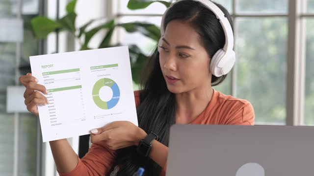 video conference from home.asian woman present business chart project on teleconference collaboration with colleagues while present project timeline.live streaming meeting - presentation stock videos & royalty-free footage