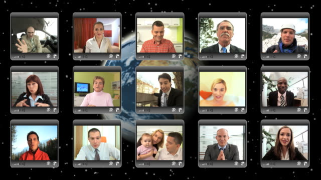 stockvideo's en b-roll-footage met hd montage: video conference - grote groep mensen