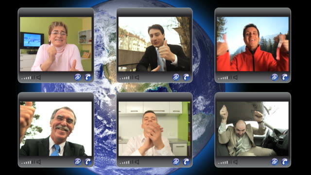hd montage: video conference - excitement stock videos & royalty-free footage