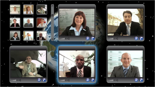 hd montage: video conference - video conference stock videos & royalty-free footage