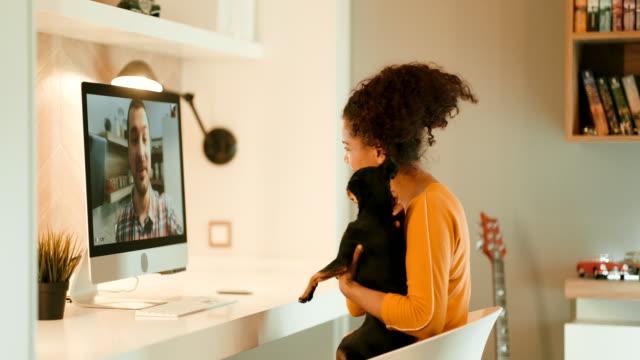 vídeos de stock, filmes e b-roll de conferência de vídeo - cômodo de casa