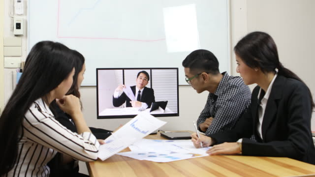 video conference - chairperson stock videos and b-roll footage