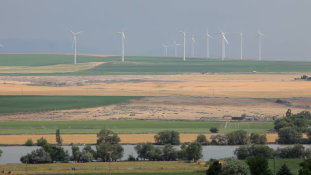 hd video crops and idaho wind farm along snake river - snake river stock videos and b-roll footage