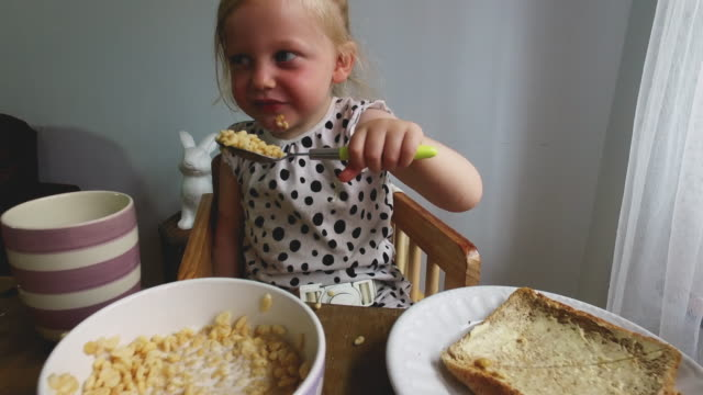 4k video - day in the life of a family - breakfast cereal stock videos & royalty-free footage