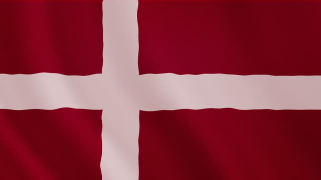 4-K Video : Denmark waving flag