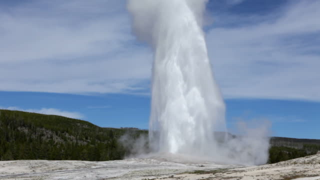 HD video Erupting Old Faithful geyser Yellowstone NP