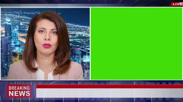 vídeos de stock, filmes e b-roll de vídeo 4k: apresentadora feminina apresentando as últimas notícias com tela verde para uso de mockup - modelo web