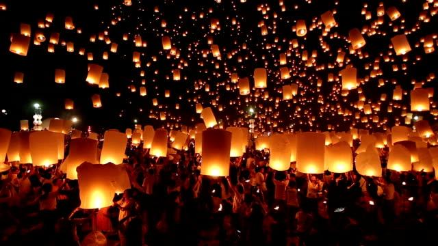 HD Video Floating lanterns Yeepeng festival Loi krathong Thailand culture.