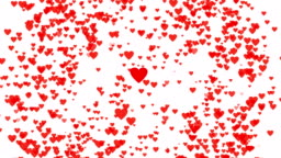 4K video. Flying heart shape animation. Hearts particles animation, video on white background