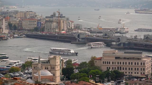 4kビデオ映像、ゴールデンホーンの空中写真、イスタンブール、トルコ - メルセデスベンツファッションウィーク点の映像素材/bロール