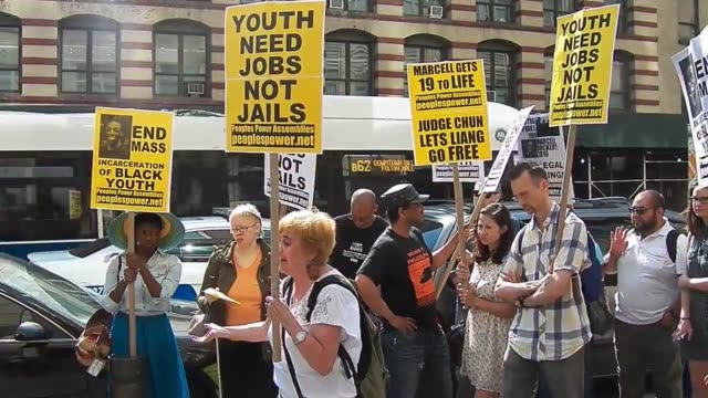 stockvideo's en b-roll-footage met video footage of rally press conference organized by peoples power assemblies on june 14 in brooklyn a lynch mob in blue attended the sentencing of... - sentencing