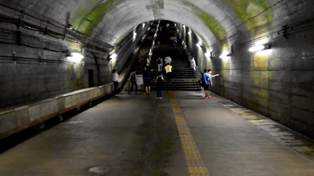 video footage shows a daunting 486 steps to reach the exit of jr doai station in minakami gunma prefecture a starting point for hikers to mount... - steps and staircases点の映像素材/bロール