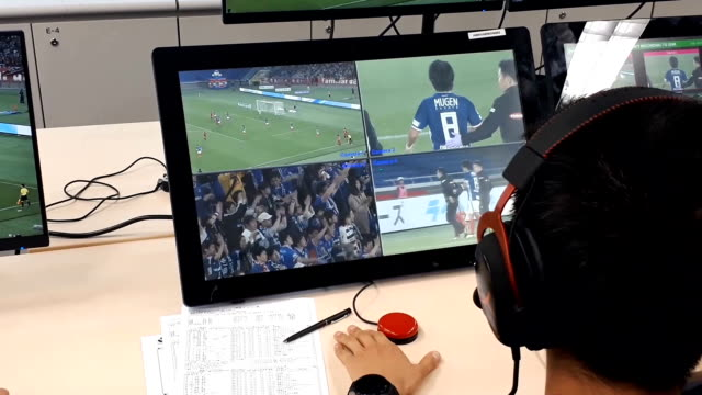 video footage shows a demonstration of the new video assistant referee system that will be implemented during the upcoming fifa world cup competition... - fifa world cup stock videos & royalty-free footage