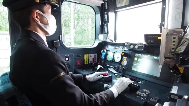 video footage shows a train operator receiving training as kyushu railway co. plans to introduce self-driving trains on the kashii line in fukuoka... - kyushu railway stock videos & royalty-free footage