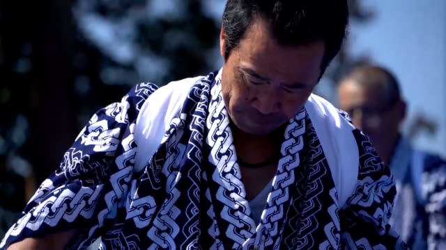video footage shows five residents offering a traditional dance in futaba fukushima prefecture on march 9 to pray for victims of the great east japan... - 犠牲者点の映像素材/bロール