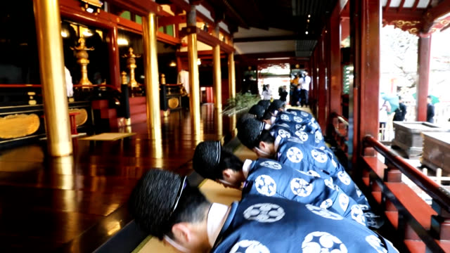 video footage shows priests ceremonially dusting the main worship hall of dazaifu tenmangu shrine in dazaifu fukuoka prefecture on dec 6 with bamboo... - shrine stock videos & royalty-free footage