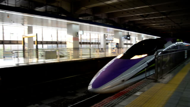 video footage shows the interior and exterior of the west japan railway co.'s 500 type eva, a 500 series shinkansen bullet train themed around the... - テレビ番組点の映像素材/bロール