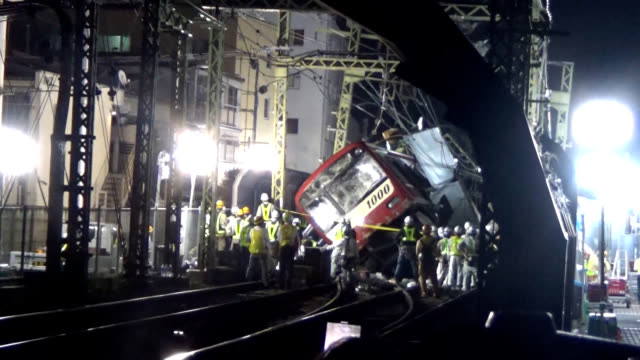 video footage taken after 10 pm on sept 5 in yokohama's kanagawa ward shows keikyu corp railway maintenance grows starting the work of removing a... - rail transportation stock videos & royalty-free footage