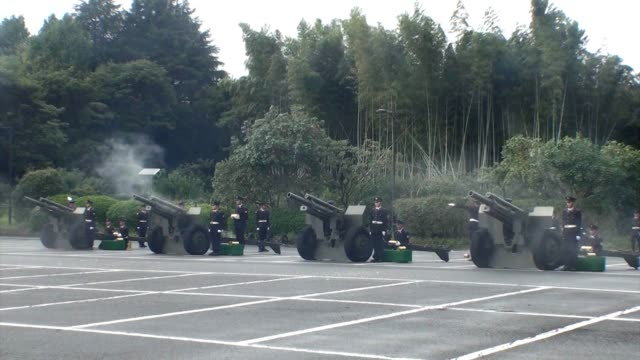 video footage taken at kitanomaru park in tokyo's chiyoda ward shows four artillery pieces ceremonially firing blank rounds on oct. 22 to mark the... - 天皇点の映像素材/bロール