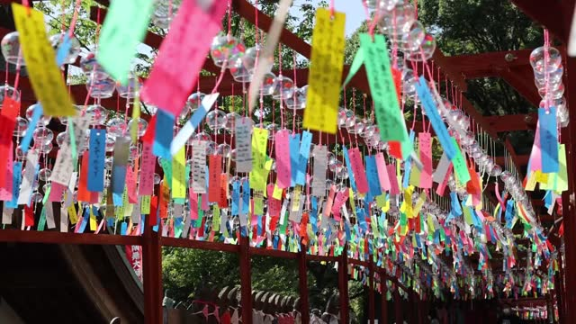 """video footage taken at sannoji temple in sasaguri, fukouka prefecture, shows an array of about 3,000 """"furin"""" wind chimes swaying in the breeze. with... - fukuoka prefecture stock videos & royalty-free footage"""